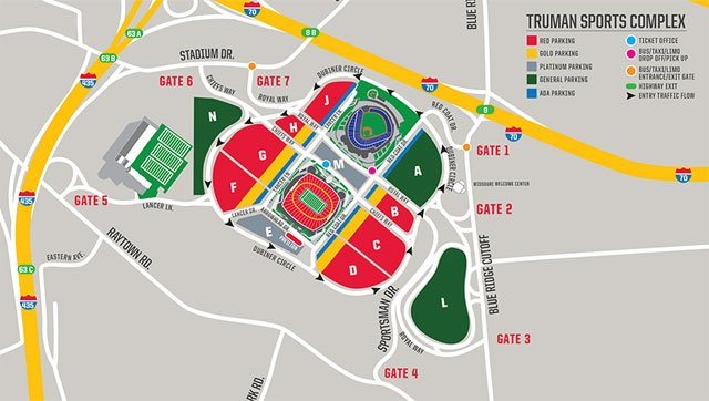 All traffic will flow in a counter-clockwise direction around Arrowhead Stadium. Gold and red parking passes will no longer be lot-specific.