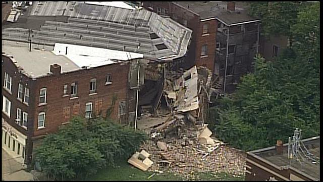 Church's building is shown the morning of the collapse. (CHOPPER5)