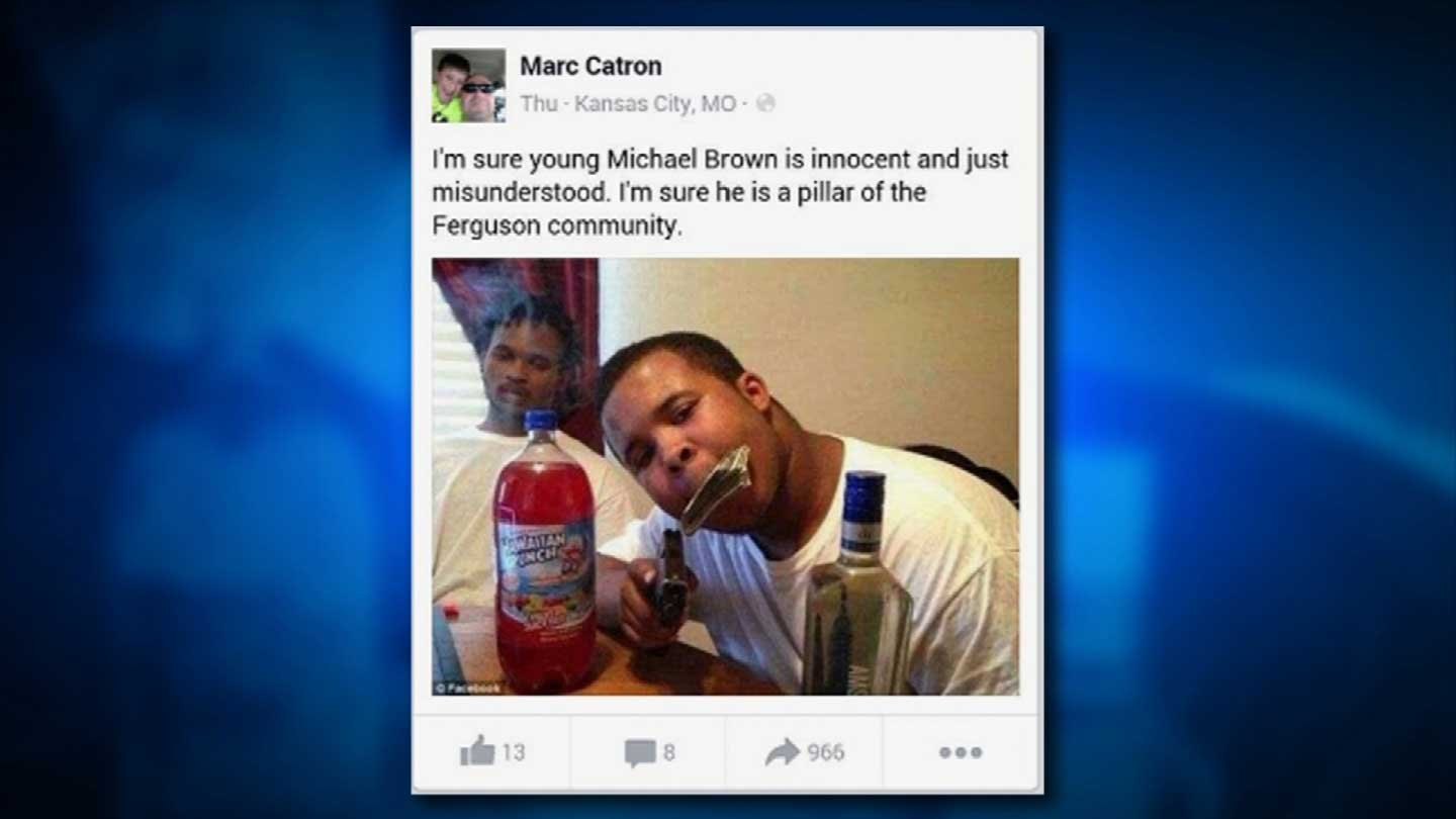 Officer Marc Catron's Facebook page. That isn't Michael Brown in the photo.