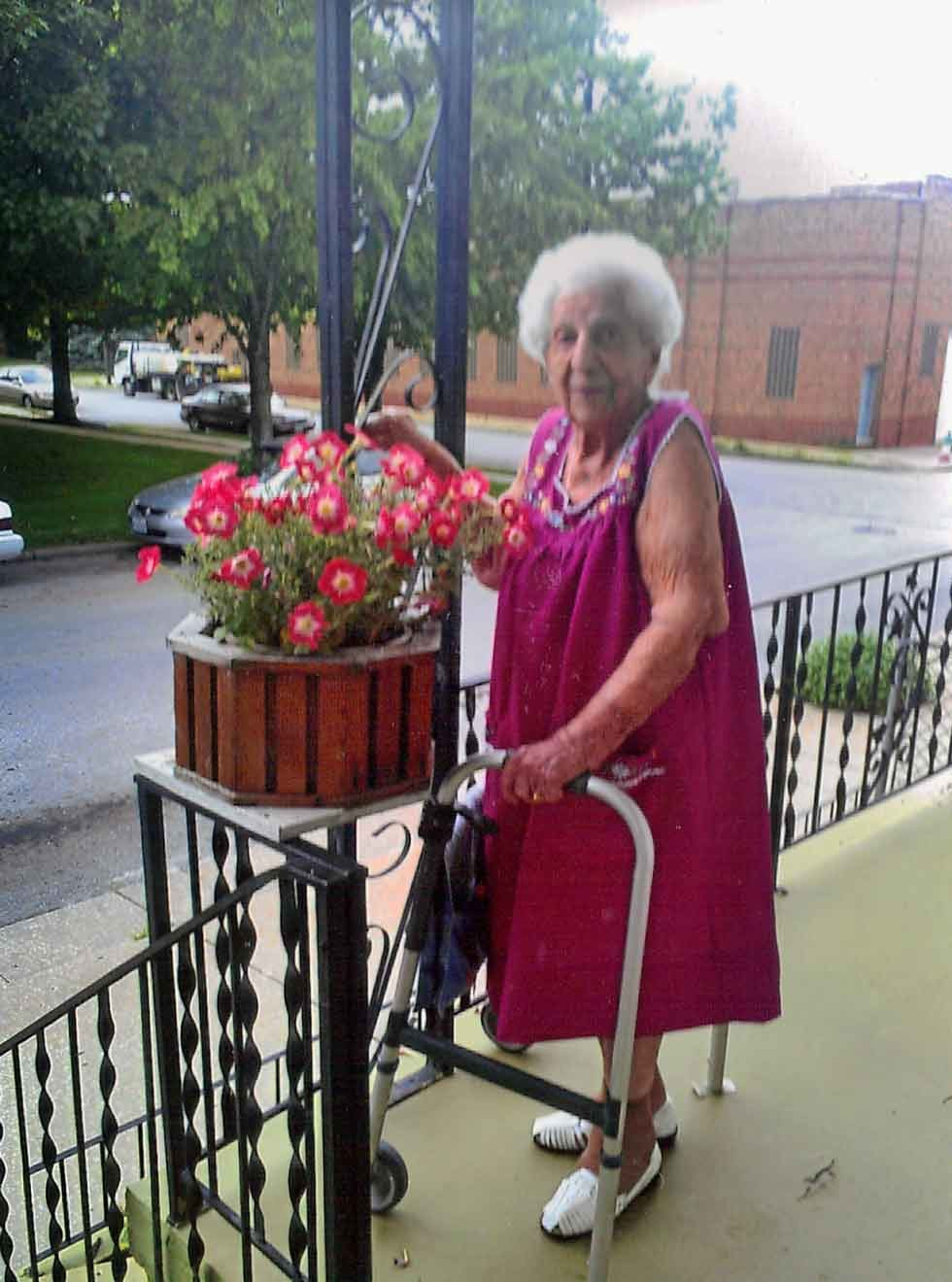 Josephine Passantino still gets out to water her flowers, even at the age of 105.