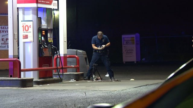 A man is hospitalized after someone stabbed him several times while he was pumping gas and then stole his car.  It happened a little after 11 p.m. Saturday at a gas station.