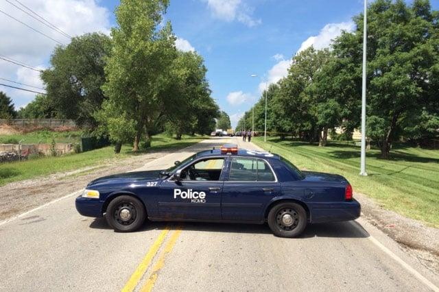 The shootings happened just after 1 p.m. Tuesday on Woodbridge Lane just east of Wornall Road near East Blue Ridge Boulevard. (Josh Marshall/KCTV5 News)