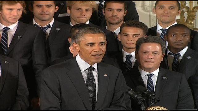 """President Barack Obama has saluted the 2013 Major League Soccer champions Sporting Kansas City. He credits the """"dedicated fans"""" of Kansas City for helping the sport grow in the United States."""