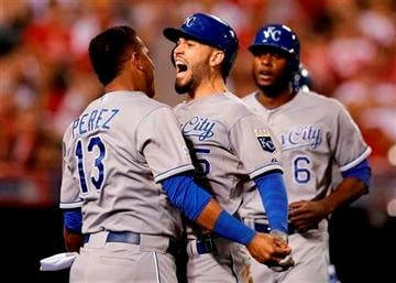 After a wild win over Oakland in its first playoff game in nearly three decades, the Royals - who finished last by a wide margin in home runs this season - are just one win away from sweeping the mighty, power-hitting Los Angeles Angels.