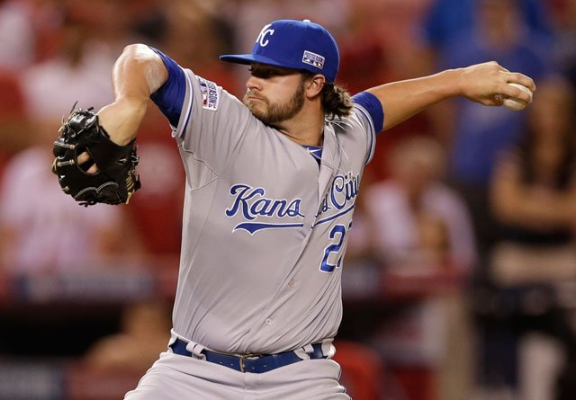 Kansas City Royals pitcher Brandon Finnegan throws against the Los Angeles Angels in the ninth inning of Game 2 of baseball's AL Division Series in Anaheim, Calif., Friday, Oct. 3, 2014. (AP Photo/Gregory Bull)