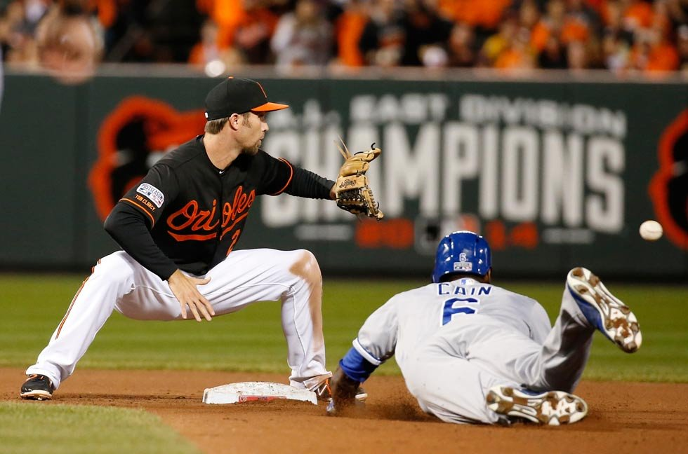 Kansas City Royals' Lorenzo Cain (6) is safe at second as Baltimore Orioles shortstop J.J. Hardy takes the throw during the fifth inning of Game 1 of the American League baseball championship series Friday, Oct. 10 in Baltimore. (AP Photo/Alex Brandon)