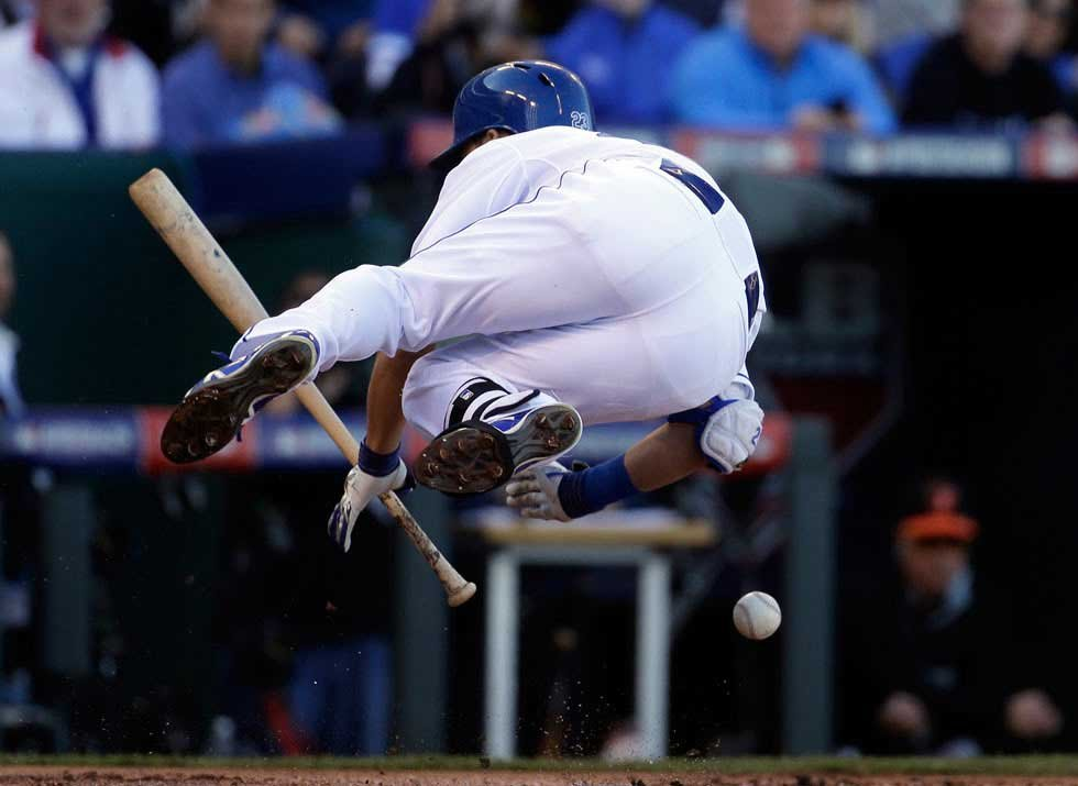 Kansas City Royals' Norichika Aoki is hit by a pitch from Baltimore Orioles starting pitcher Miguel Gonzalez of Game 4 of the American League baseball championship series (AP)