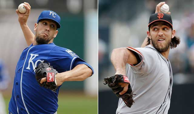 With the World Series tied at two games apiece, October ace Madison Bumgarner pitches for the San Francisco Giants against shaky starter James Shields of the Kansas City Royals. (AP)