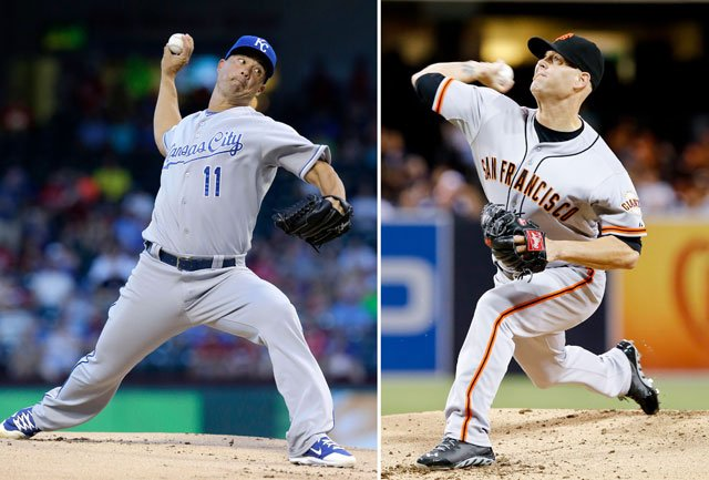 Tim Hudson is set to take the mound Friday night for the Giants when they return home to face Jeremy Guthrie and the Royals in Game 3 of the World Series after a two-game split in Kansas City. (AP)