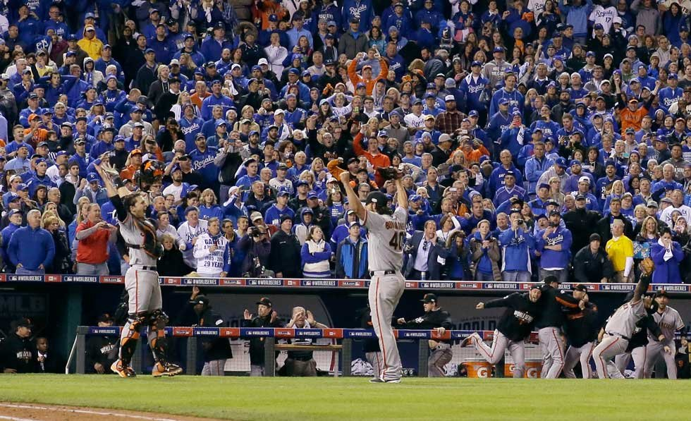 Giants ace Madison Bumgarner celebrates after Giants beat Royals in Game 7 of the World Series at Kauffman