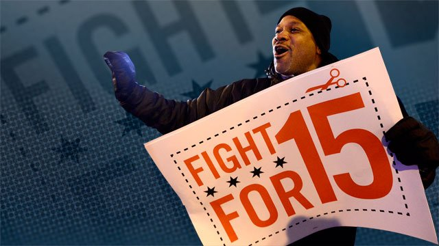 Thousands of fast food workers are expected to strike in 190 cities Thursday, demanding a $15 an hour wage. (AP)