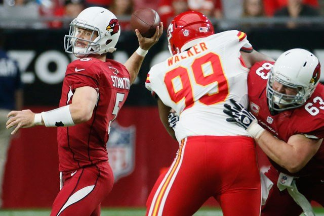 Arizona Cardinals quarterback Drew Stanton (5) throws during the first half of an NFL football game agains the Kansas City Chiefs, Sunday, Dec. 7, 2014, in Glendale, Ariz. (AP Photo/Matt York)