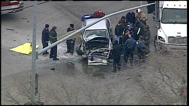 Pedestrian Struck Driver Wrecks At 12th And Bellefontaine