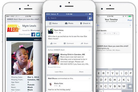 Facebook users in the U.S. will soon receive Amber Alerts to help find missing children who may be located near them.