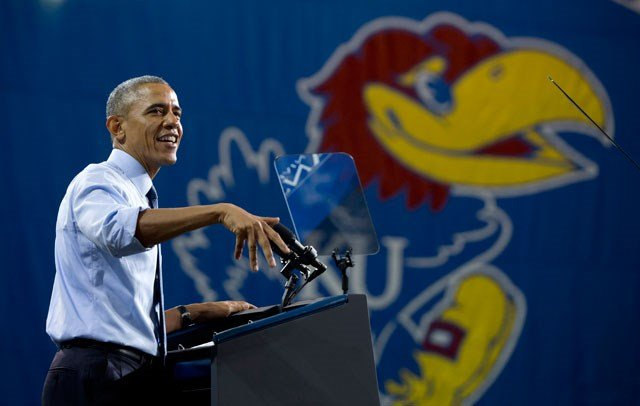 President Barack Obama speaks at the University of Kansas in Lawrence, Kansas, Thursday, Jan. 22, 2015, about the themes in his State of the Union address. (AP Photo/Carolyn Kaster)