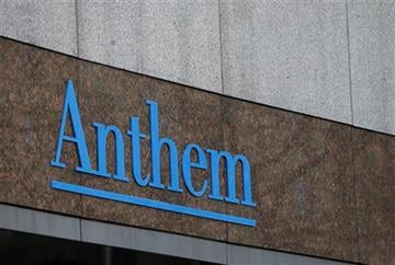 This Wednesday, Dec. 3, 2014 file photo shows the Anthem logo at the company's corporate headquarters in Indianapolis. (AP Photo/Darron Cummings, File)
