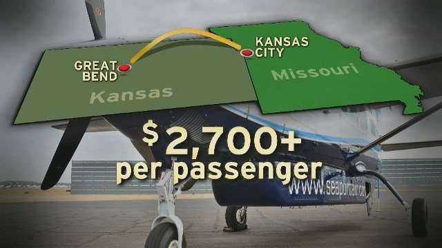 A flight between Kansas City, MO, and Great Bend, KS, carried just 523 people during a 12-month period ending in November. It cost the government more than $2,700 dollars per passenger.