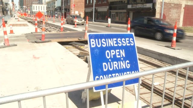 Those interested in the downtown Kansas City streetcar project's progress took a stroll along its route Sunday.