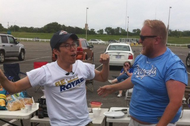 People are using the hashtag #BounceBackJimmy online to support Jimmy Faseler, right, who shook his belly to fame as a Royals super fan and even made it to ESPN Sports Center.