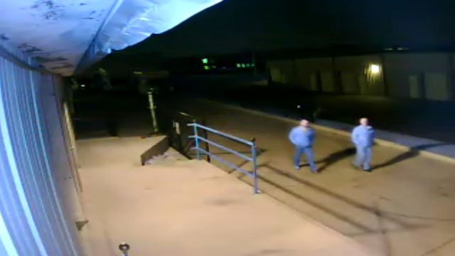Overland Park police say the thieves cut the feed on a surveillance camera at Double Diamond Storage, 7360 W. 162nd St., but they missed a second camera.