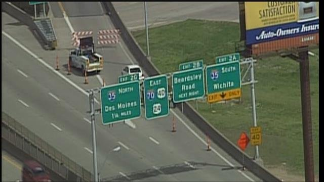 Crews have temporarily closed the Interstate 70 eastbound to Interstate 35 southbound ramp bridge until further notice.