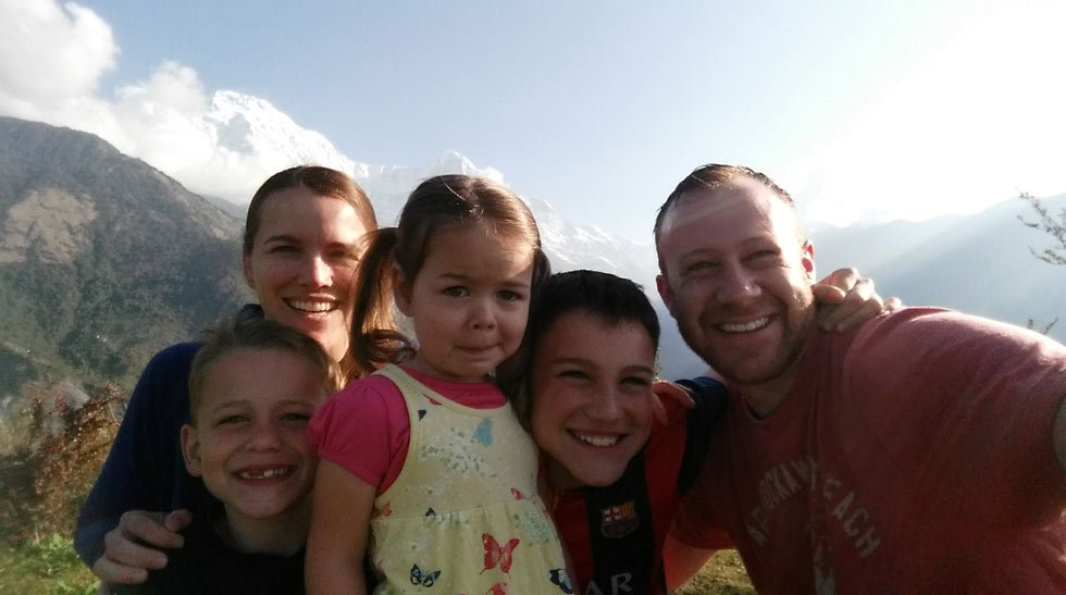 Drew and Lauren Timberlake along with their three children in Nepal.