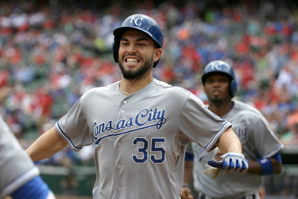 Kansas City Royals Eric Hosmer (35) heads to the dugout after hitting a two run homer during the 6th inning of a baseball game against the Texas Rangers in Arlington, Texas, Thursday, May 14. Royals Alcides Escobar scored on the play. (AP Photo/LM Otero)