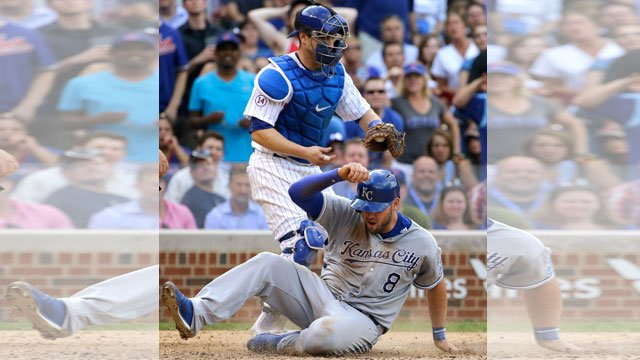 The game between the Kansas City Royals and Chicago Cubs scheduled for Saturday night has been rained out. (AP, File)