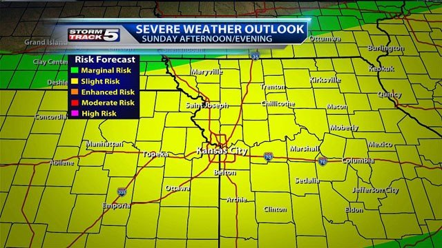 The Kansas City area is under a slight risk for severe weather Sunday ...