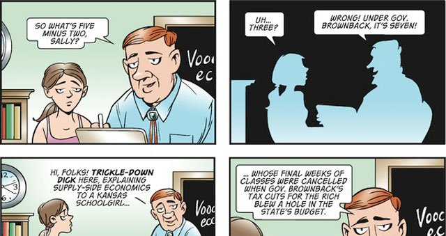 The Doonesbury comic strip has taken on Kansas and the state's recent approach to taxes.