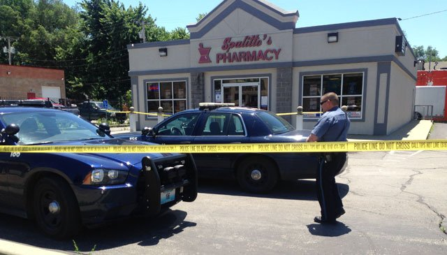Police said a person walked in to Spalitto's Pharmacy, 3801 Independence Ave., about noon Tuesday and demanded prescription pills.