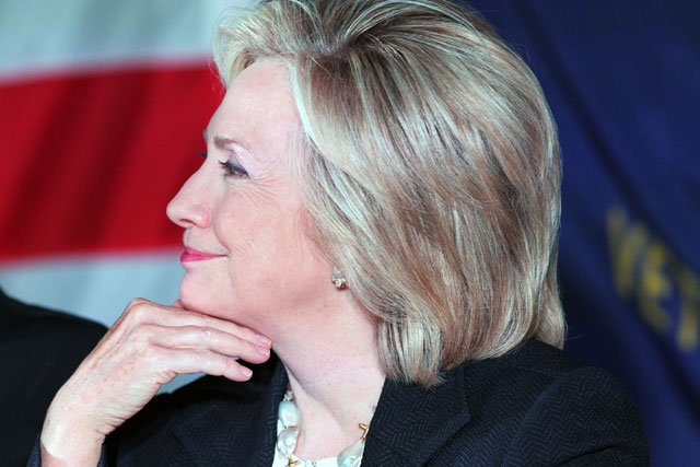 Democratic presidential candidate Hillary Rodham Clinton listens to questions during a roundtable discussion at a historic VFW post in Reno, Nev., Thursday, June 18, 2015. (AP Photo/Lance Iversen)