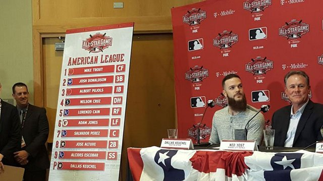 Los Angeles Dodgers right-hander Zack Greinke will start for the National League in Tuesday night's All-Star Game and Houston Astros lefty Dallas Keuchel will be on the mound for the American League. (@MLB via Twitter)