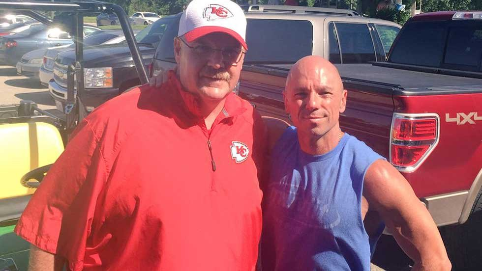 andy reid baby. chiefs coach andy reid and country music superstar kenny chesney (courtesy of kansas city baby