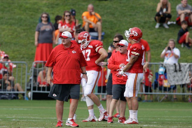 Kansas City Chiefs head coach Andy Reid during NFL football training camp in St. Joseph, Mo., Sunday, Aug. 9, 2015. (AP Photo/Orlin Wagner)