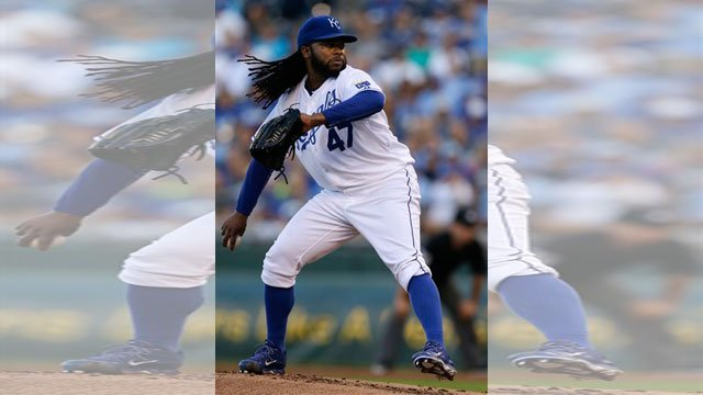 Johnny Cueto threw a four-hitter in his Kansas City home debut as the Royals beat the Tigers 4-0 on Monday night. (AP)
