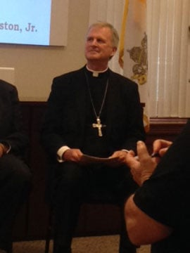 Bishop James V. Johnston, Jr. was introduced to the chancery staff at 10 a.m. Tuesday. (Heather Staggers/KCTV5 News)