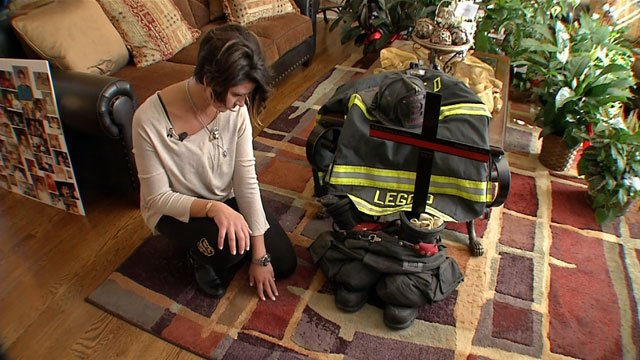 Missy Leggio found herself holding onto her husband's fire helmet hours after his funeral.  She is surrounded by memories, but some touch deeper than others.