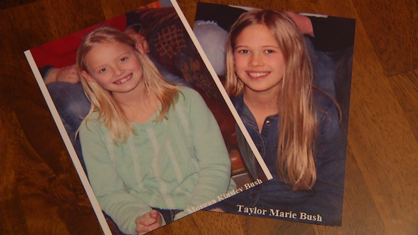 Justin Bush went to police when his daughters, Taylor, age 11, and Morgan, age 9, missed several days of school.