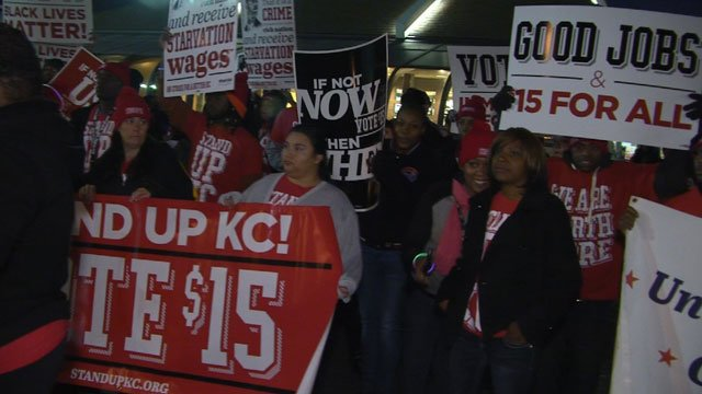 Minimum wage demonstrations are not new to Kansas City. In September of 2017, hundreds of people gathered todemand a higher minimum wage. (KCTV5)