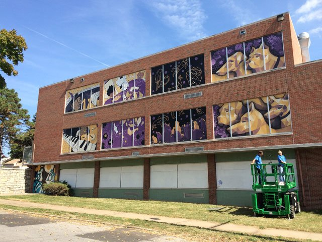 Art Students Use Murals To Beautify Vacant Kansas City. Lil Yachty Banners. Lymphoid Signs. Lifestyle Logo. Kindergarden Murals. Hood Tattoo Lettering. Create Custom Stickers. Business Signs Of Stroke. Home Product Banners