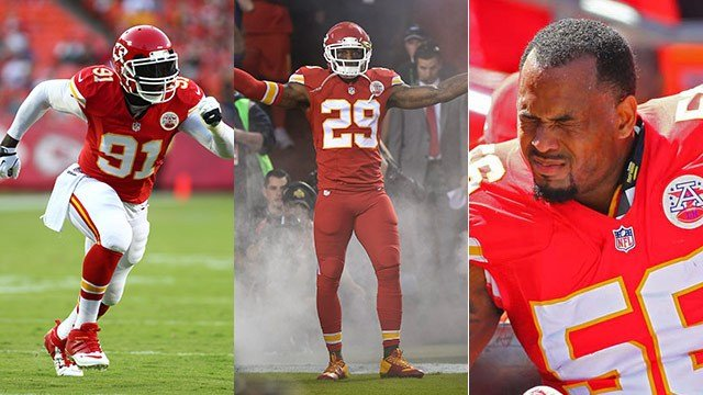 From left to right: Tamba Hali, Eric Berry and Derrick Johnson.