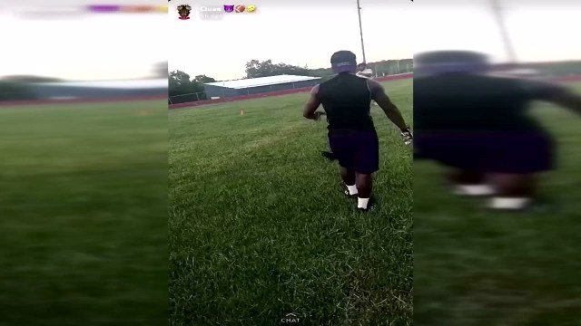 City officialsare investigating a video that appears to show a man gleefully punting a caton a Kansas City high school football field. (City of Kansas City)