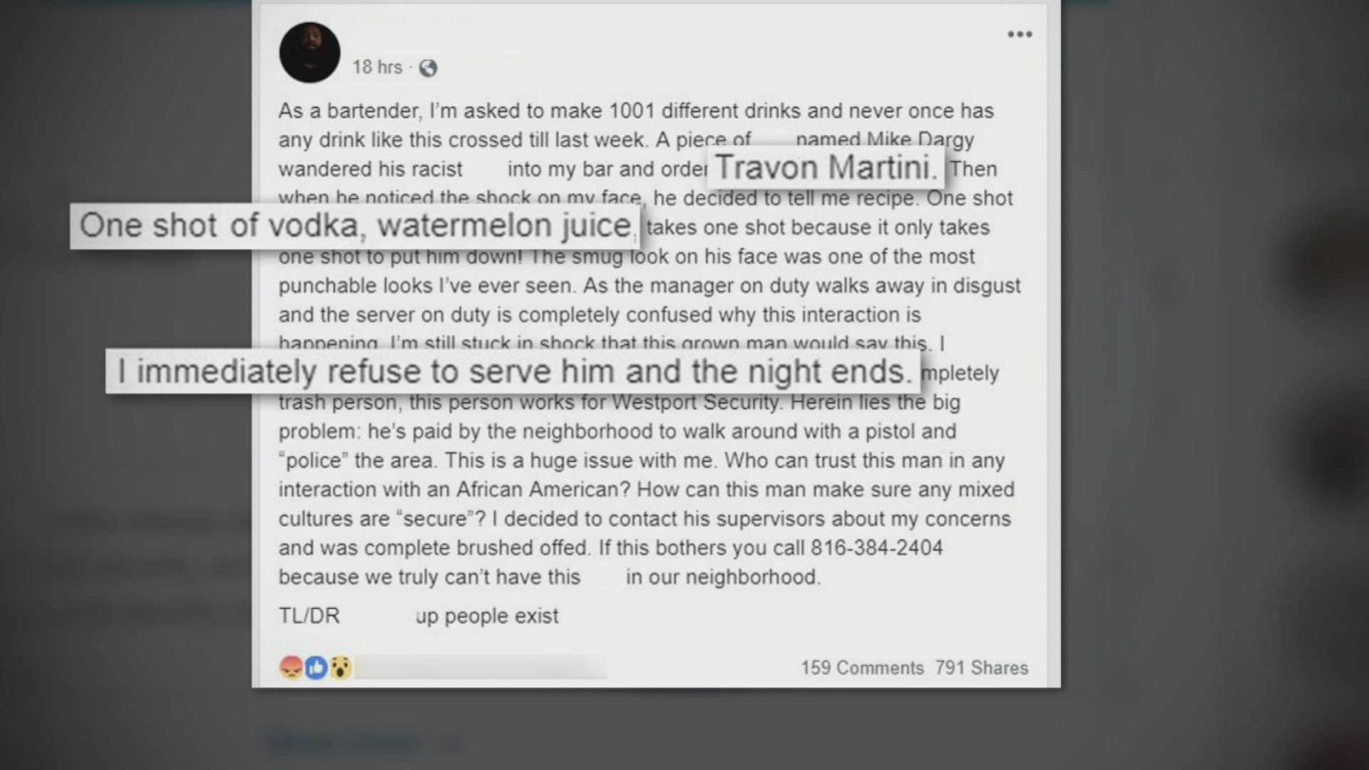 Westport bartender says security guard ordered 'Trayvon Martini'